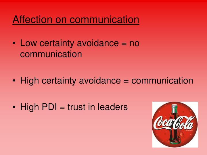 Affection on communication