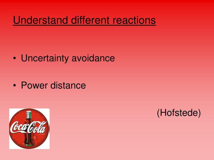 Understand different reactions