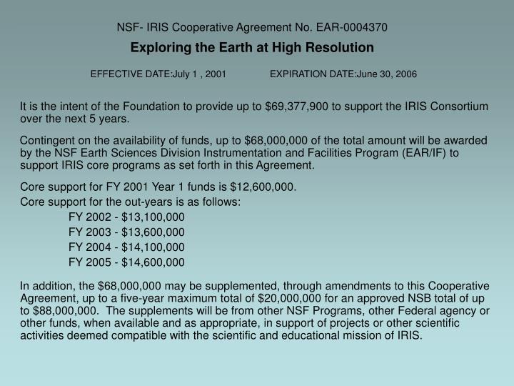 NSF- IRIS Cooperative Agreement No. EAR-0004370