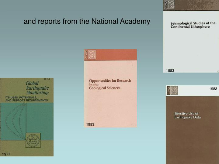 and reports from the National Academy