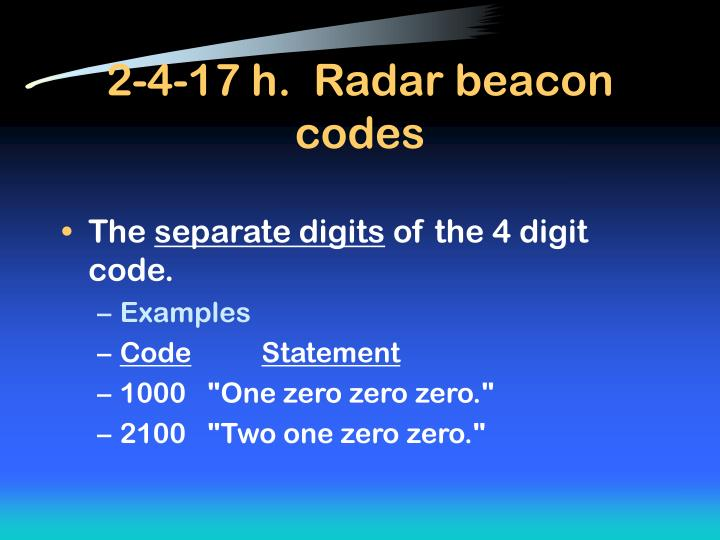 2-4-17 h.  Radar beacon codes