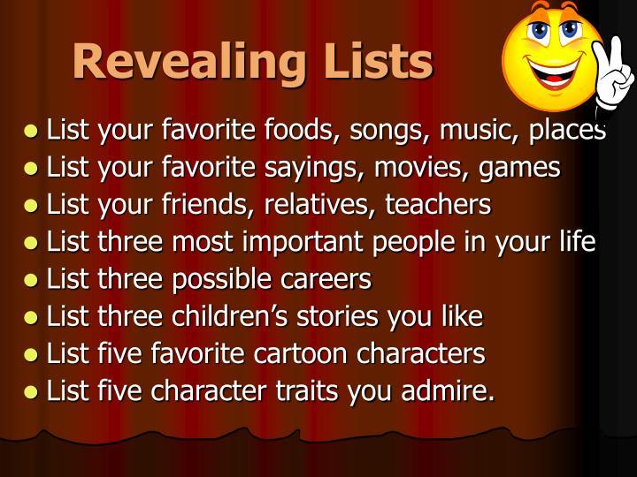 Revealing Lists