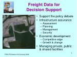 freight data for decision support