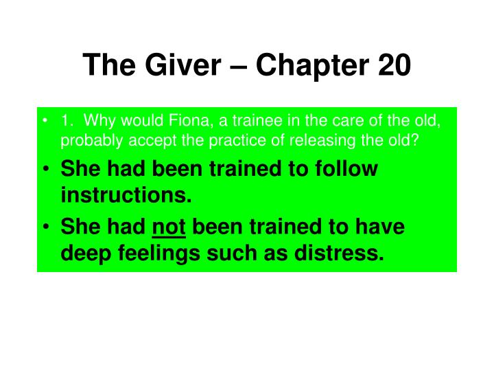 The Giver – Chapter 20