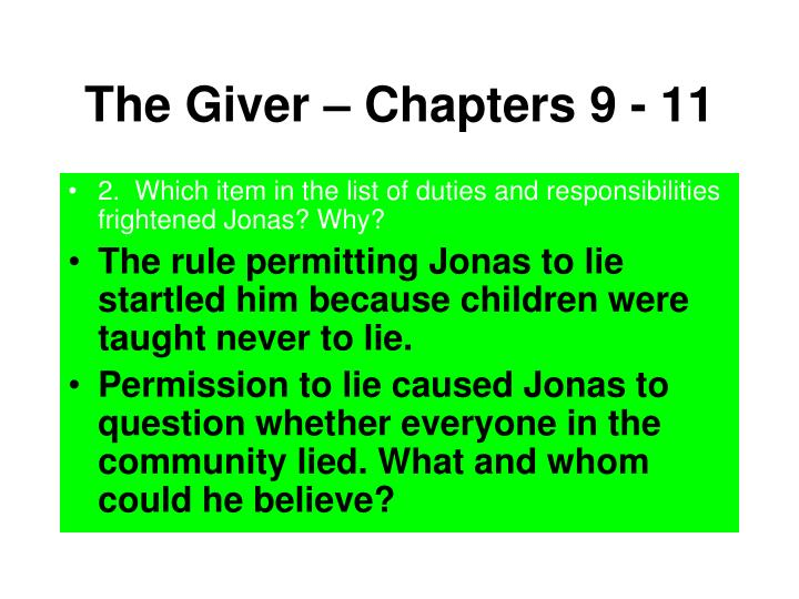 The Giver – Chapters 9 - 11