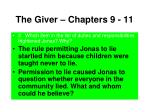 the giver chapters 9 113