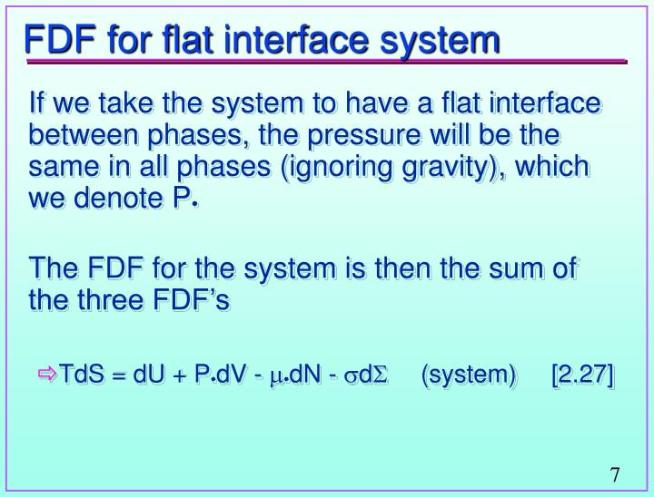 FDF for flat interface system