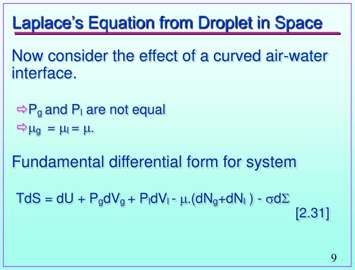 Laplace's Equation from Droplet in Space