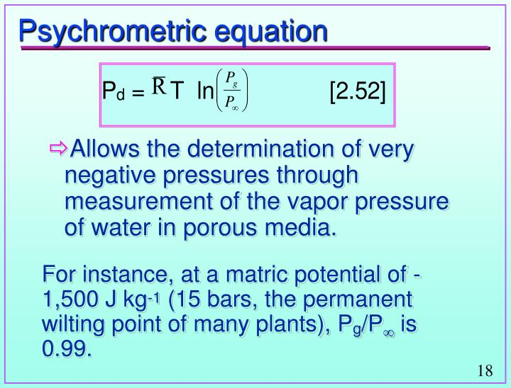 Psychrometric equation