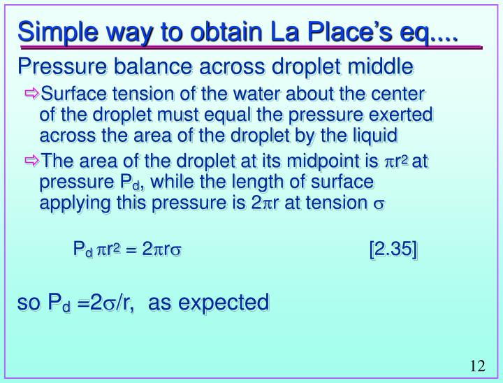 Simple way to obtain La Place's eq....