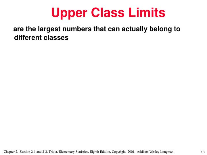 are the largest numbers that can actually belong to different classes