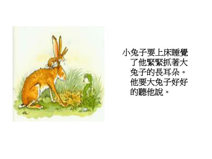 小兔子要上床睡覺了他緊緊抓著大兔子的長耳朵。他要大兔子好好的聽他說。