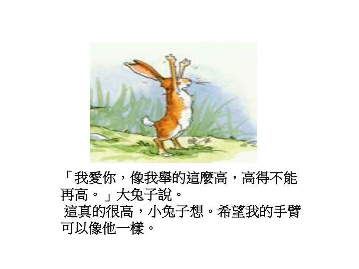 「我愛你,像我舉的這麼高,高得不能再高。」大兔子說。