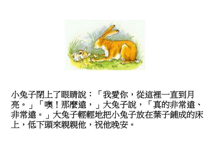 小兔子閉上了眼睛說:「我愛你,從這裡一直到月亮。」「噢!那麼遠,」大兔子說,「真的非常遠、非常遠。」大兔子輕輕地把小兔子放在葉子鋪成的床上,低下頭來親親他,祝他晚安。