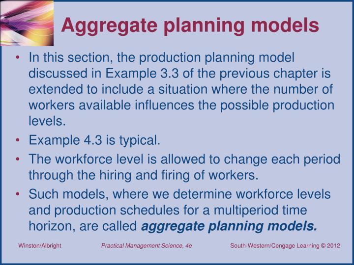 Aggregate planning models