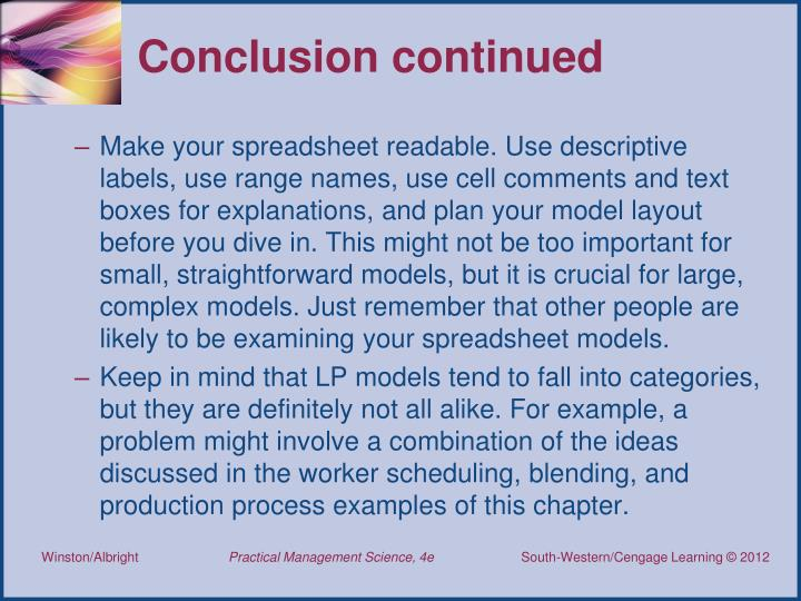 Conclusion continued