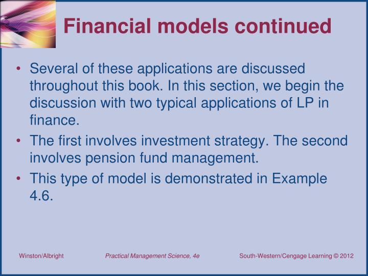 Financial models continued
