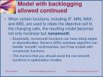 model with backlogging a llowed continued
