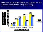 q 10 i am more likely to have sex e g intercourse oral sex masturbation etc when using