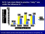 q 12 i am more likely to practice risky sex under the influence of