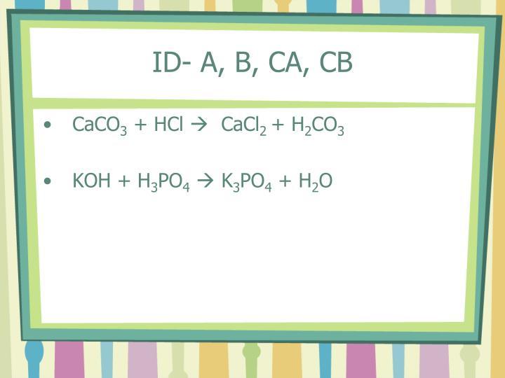 ID- A, B, CA, CB