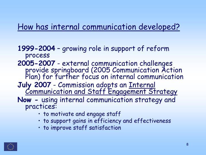 How has internal communication developed?