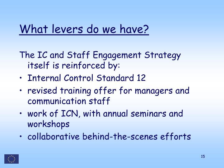 What levers do we have?