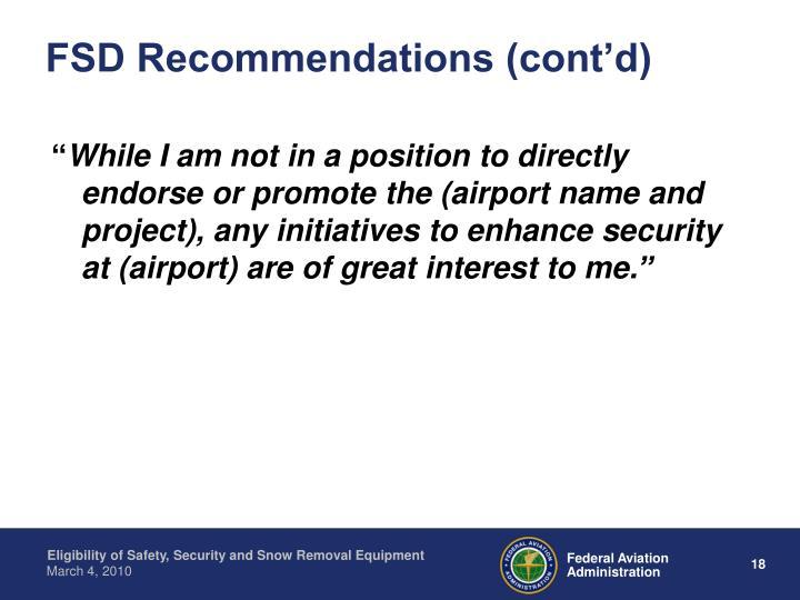 FSD Recommendations (cont'd)