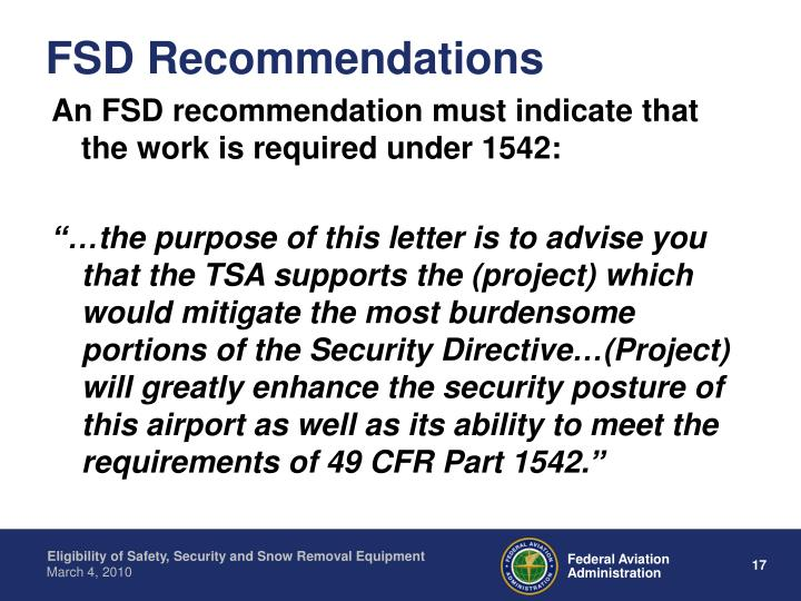 FSD Recommendations
