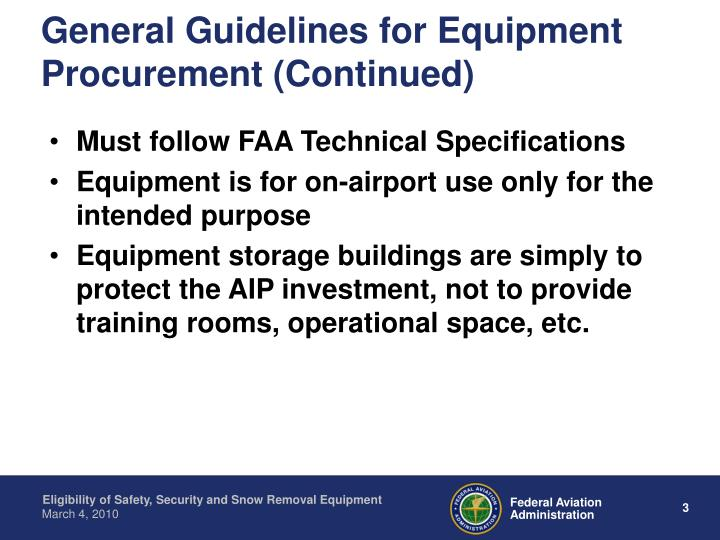 General Guidelines for Equipment Procurement (Continued)