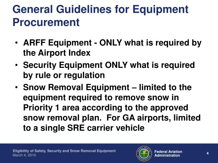 General Guidelines for Equipment Procurement