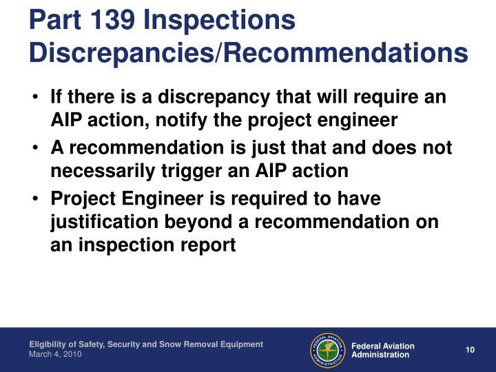 Part 139 Inspections Discrepancies/Recommendations