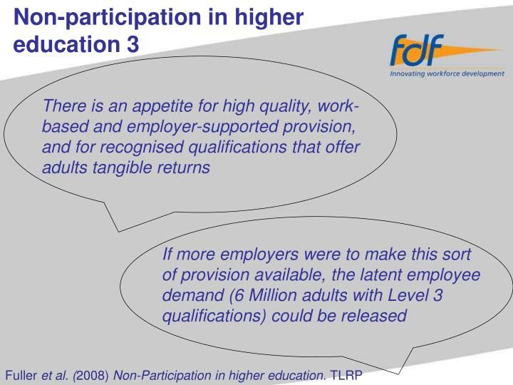 Non-participation in higher education 3