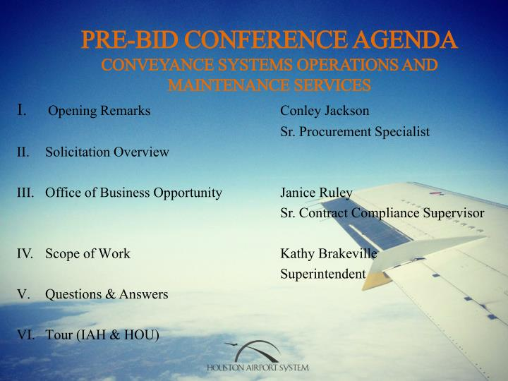 Pre bid conference agenda conveyance systems operations and maintenance services