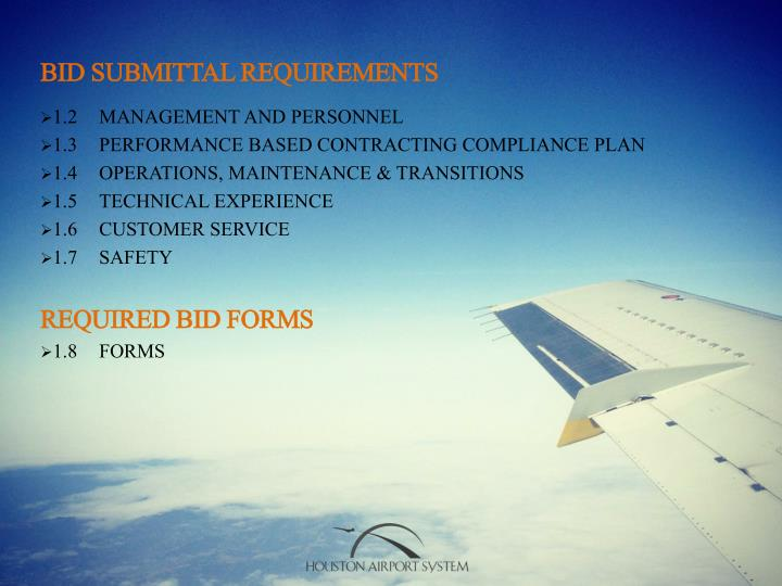 BID SUBMITTAL REQUIREMENTS