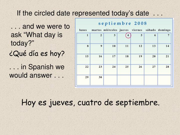 If the circled date represented today's date  . . .