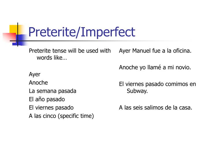 Preterite tense will be used with words like…