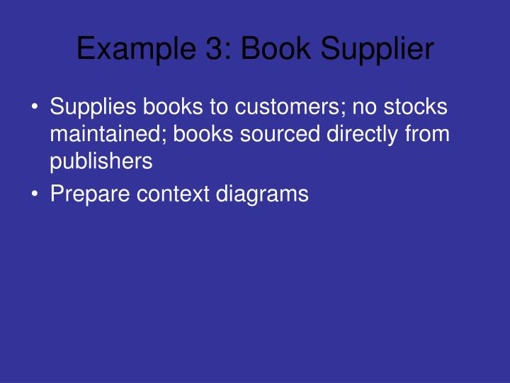 Example 3: Book Supplier