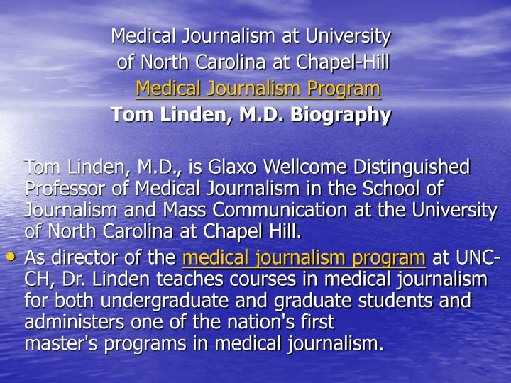 Medical Journalism at University