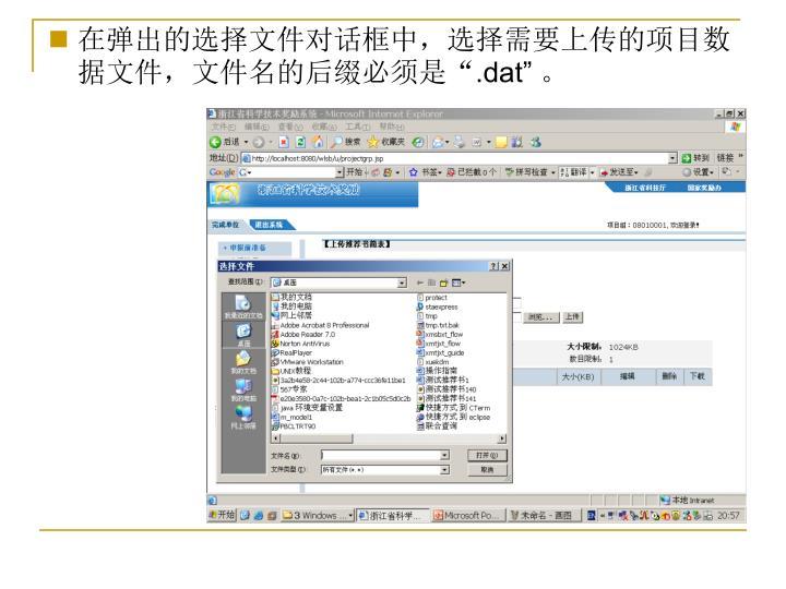 """在弹出的选择文件对话框中,选择需要上传的项目数据文件,文件名的后缀必须是"""""""