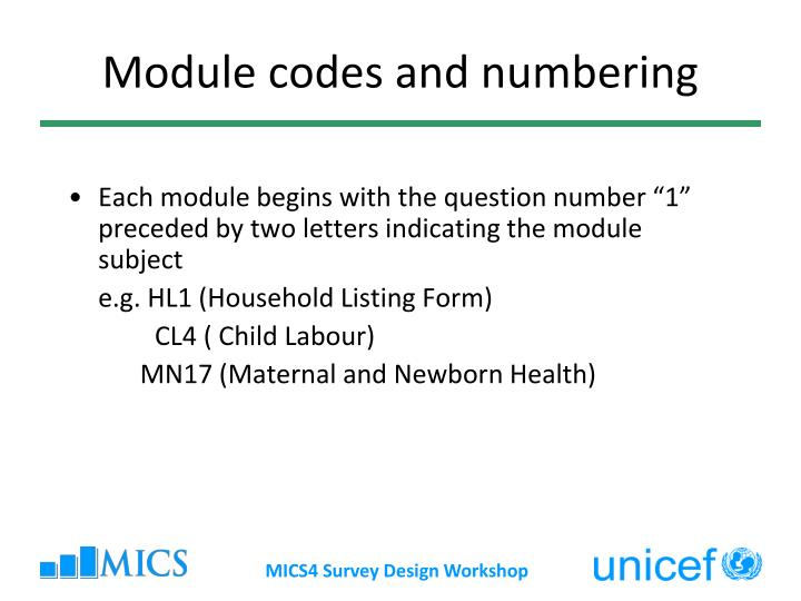 Module codes and numbering