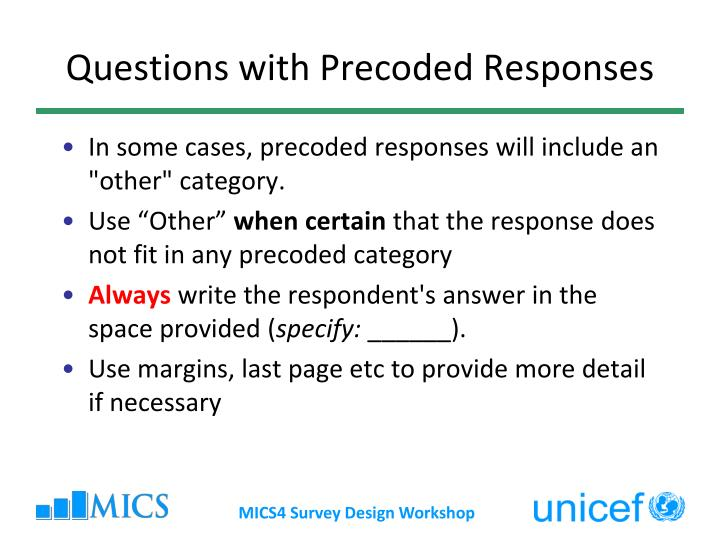 Questions with Precoded Responses