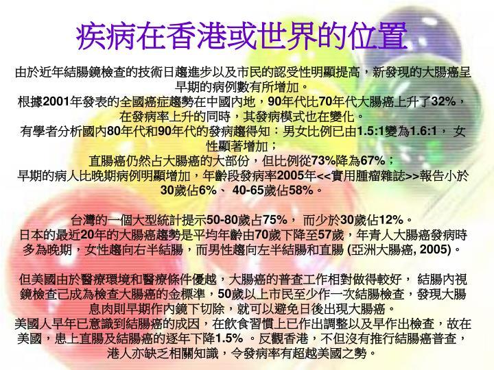 疾病在香港或世界的位置
