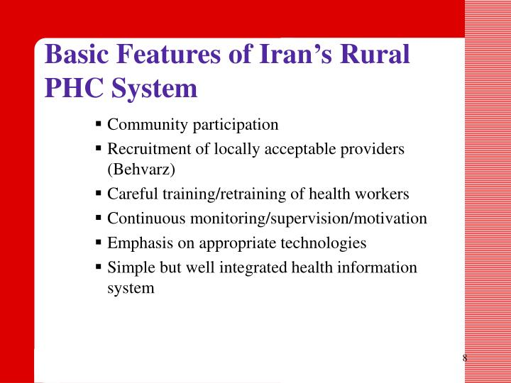 Basic Features of Iran's Rural PHC System