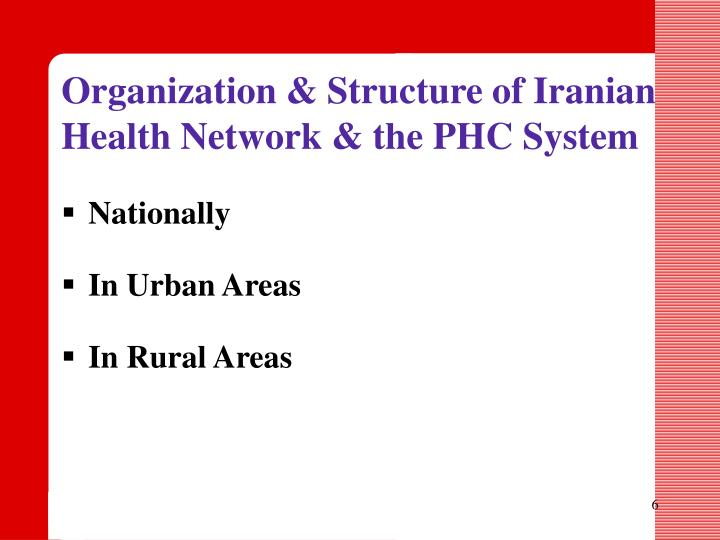 Organization & Structure of Iranian Health Network & the PHC System