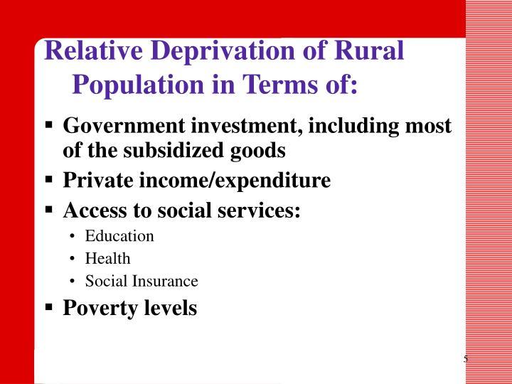 Relative Deprivation of Rural