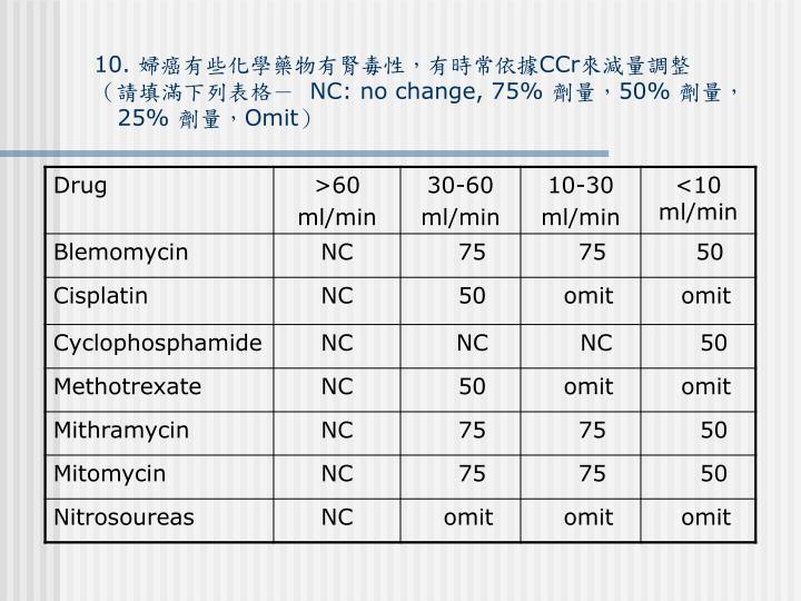 10. 婦癌有些化學藥物有腎毒性,有時常依據