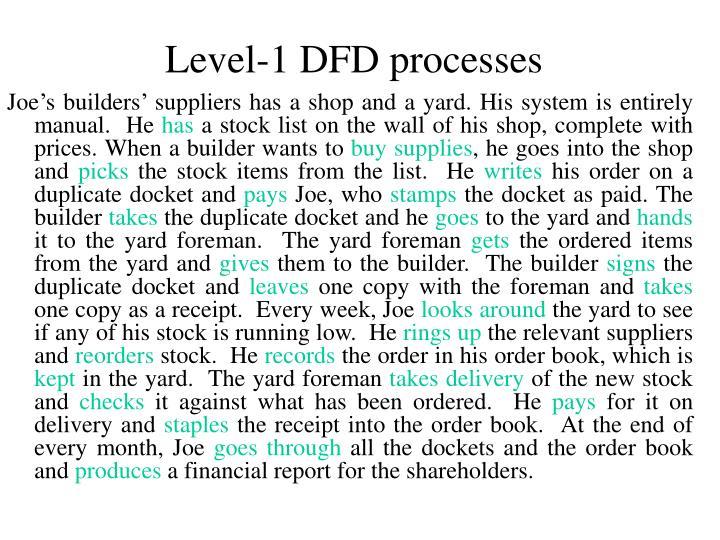Level-1 DFD processes