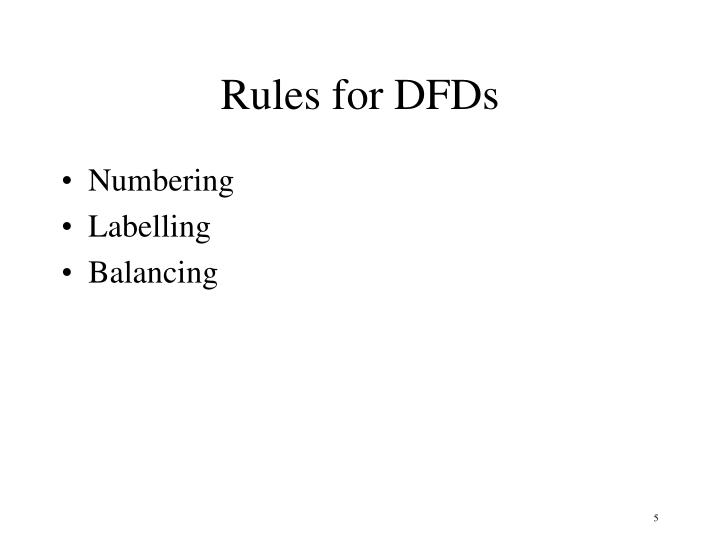 Rules for DFDs