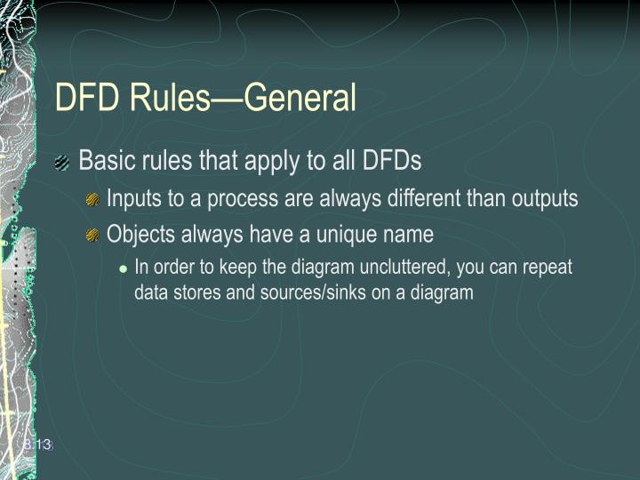 DFD Rules—General